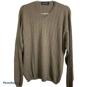 Brandini Wool V-neck Taupe Pullover Sweater